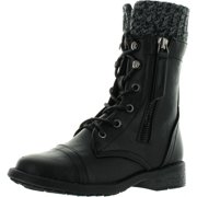 Link Girls Justina58k Kids Leatherette Sweater Cuff Lace Up Zip Decor Mid Calf Ankle Combat Boots