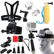 20-in-1 Set of Selfie Stick, Chest, Head & Helmet Mount Monopod Helmet Accessories Kit Bundle For GoPro Hero 4 3 3+ 2 Plus Session 20PC