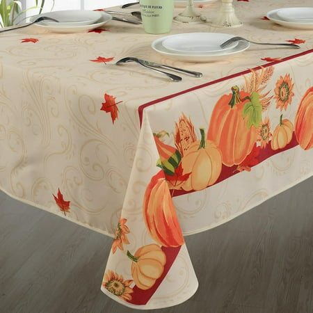 Fall Harvest Autumn Leaves With Pumpkins And Corn Print Tablecloths,Ivory