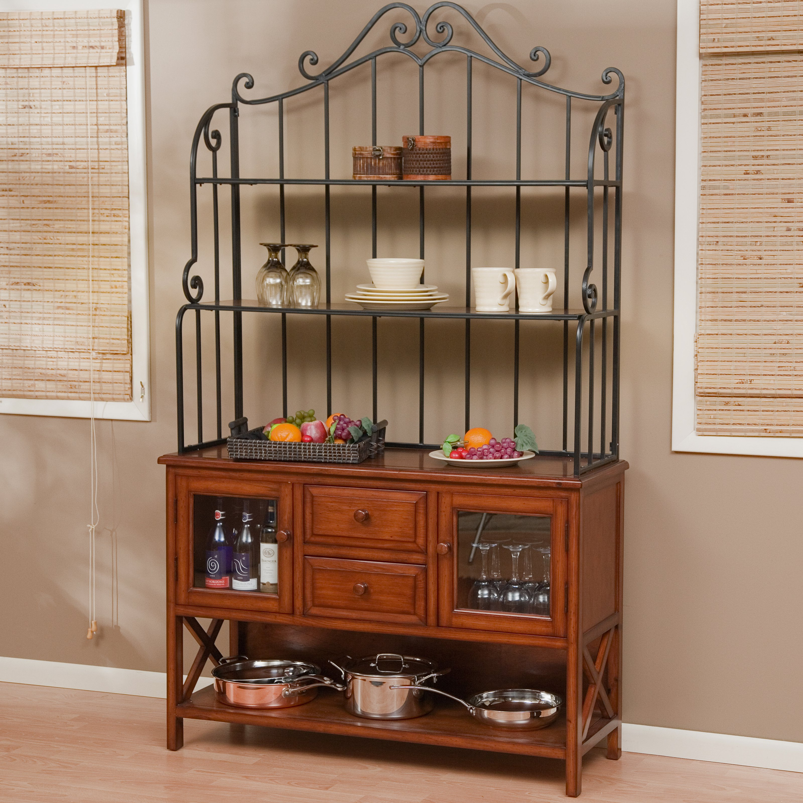Belham Living Hampton 47 Inch Wood Bakers Rack - Heritage Oak