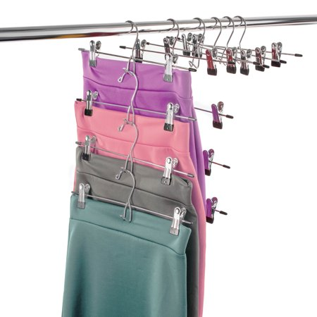 ShopoKus Metal Cascading Pants Hanger (Set of 12) with 2 Adjustable Non-Slip Skirt Clips, Rust Resistant Chrome Plated Stainless Steel Skirt Hangers for Clothes, Jeans, Shorts, Trousers Etc (Stainless Hangers)