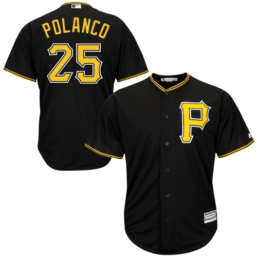 Men's Majestic Gregory Polanco Black Pittsburgh Pirates Cool Base Player Jersey