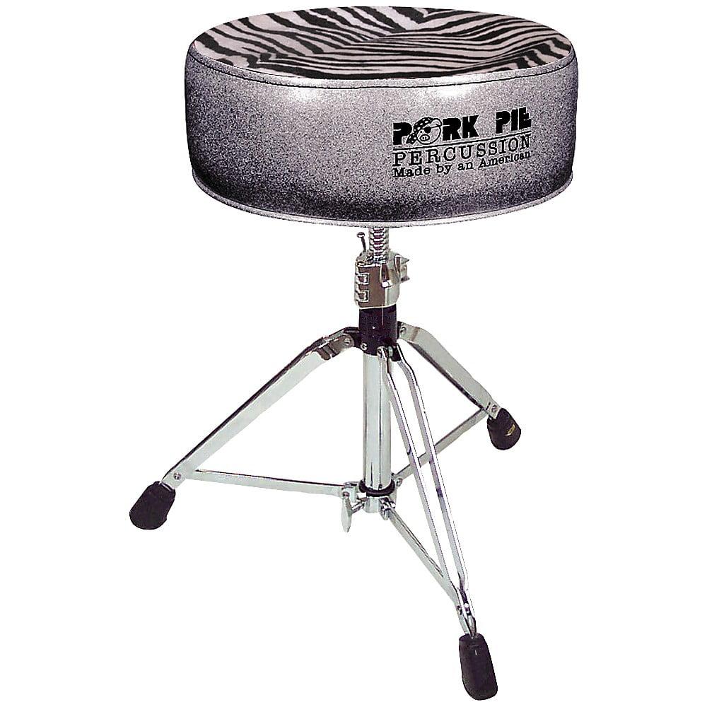 Pork Pie Round Drum Throne Charcoal Glitter with Zebra Top