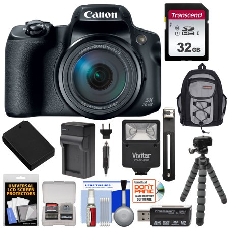 Canon PowerShot SX70 HS 4K Wi-Fi Digital Camera with 32GB Card + Battery + Charger + Flash + Backpack + Tripod + (Cannon Tom)