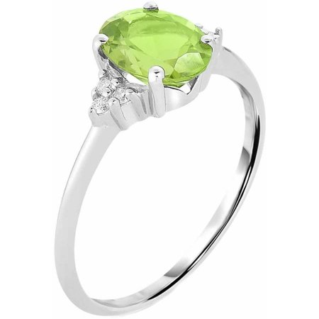 Genuine Peridot and .08 Carat T.W. Diamond 10kt White Gold Ring