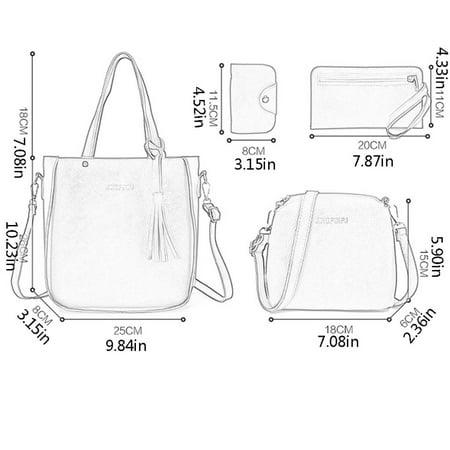 Tassel 4PCS Women Simple Single Shoulder Bag Soft PU Leather Crossbody Bag - image 7 of 8