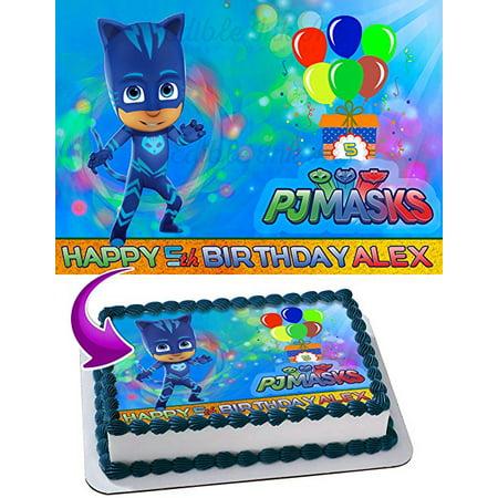 CatBoy PJ MASKS Edible Image Cake Topper Personalized Icing Sugar Paper A4 Sheet Edible Frosting Photo Cake 1/4 Edible Image for cake (Cake Topper Mask)