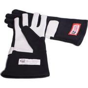 RJS Racing Equipment 06-0001-01-04 Double Layer SFI 3.3 & 5 Nomex Racing Gloves - Black, Medium
