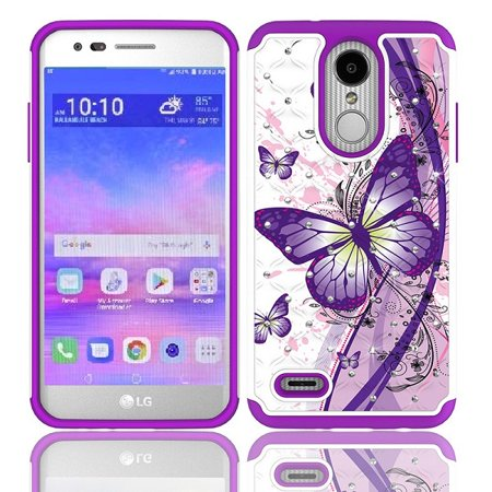 LG Rebel 4 Case, AT&T Prepaid LG Phoenix 4 Case, Phone Case for Straight Talk LG Rebel 4 Prepaid Smartphone, Studded Rhinestone Diamond Bling Cover Case  (White-purple butterfly)