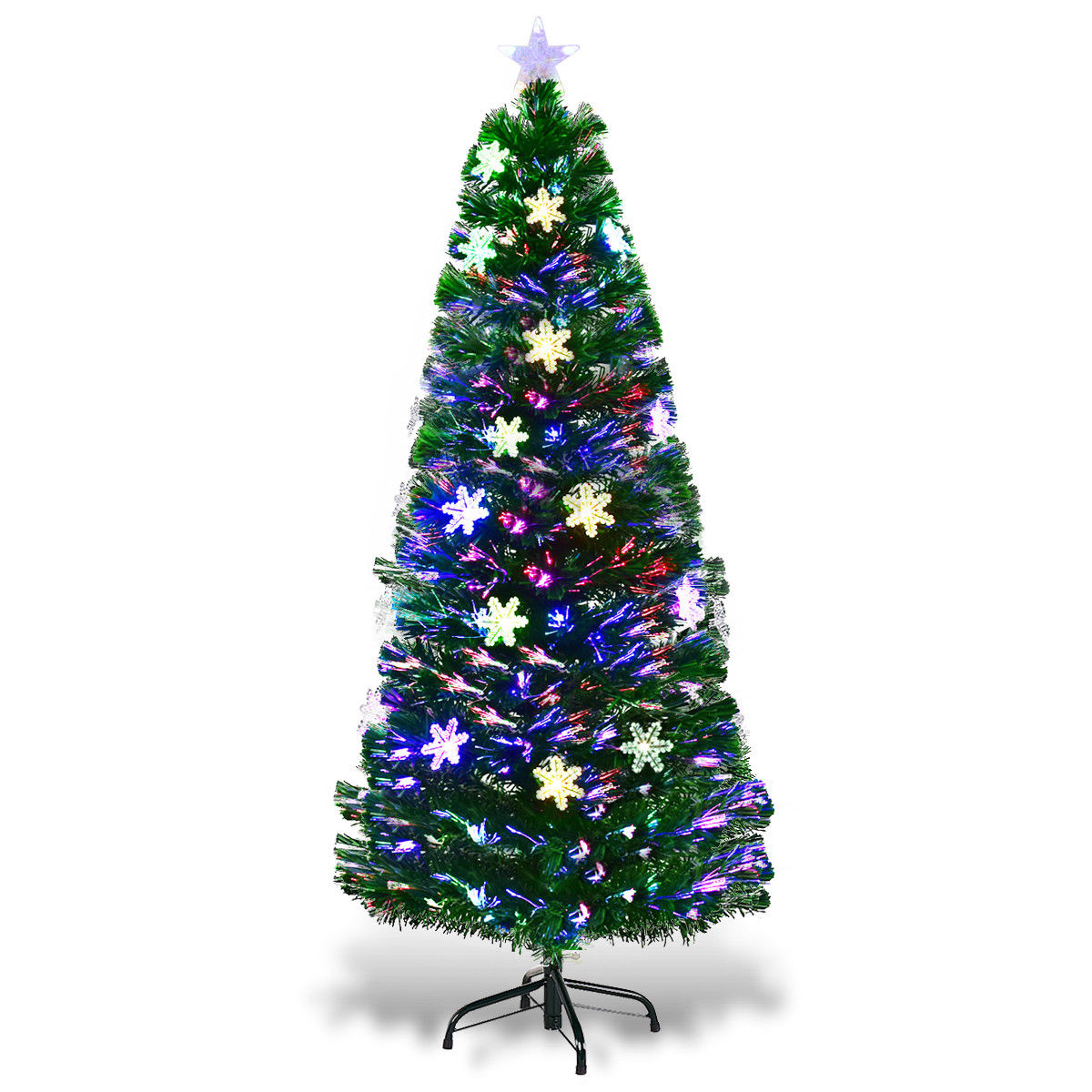 Costway 6FT Pre-Lit Fiber Optic Artificial Christmas Tree w/Multicolor Lights Snowflakes