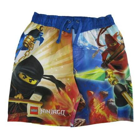 516c4dbcc10a8 LEGO - Little Boys Red Yellow Ninjago Minifigures Printed Swim Wear Shorts  7 - Walmart.com