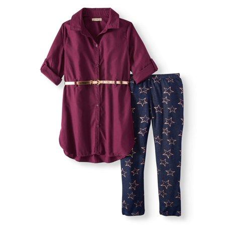Belted Poplin Tunic Shirt & Printed Legging, 2-Piece Outfit Set (Little Girls & Big Girls)