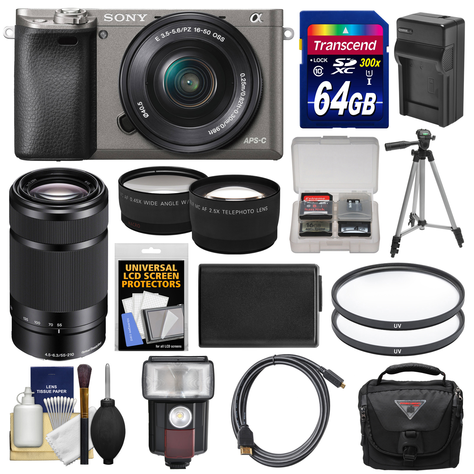 Sony Alpha A6000 Wi-Fi Digital Camera & 16-50mm Lens (Graphite) with 55-210mm Lens + 64GB Card + Case + Flash + Battery/Charger + Tripod Kit