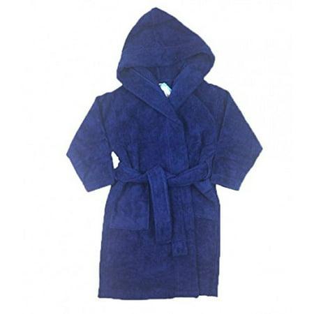 FIT RITE Boys 100% Cotton Velour Hooded Terry Robe Bathrobe Blue (14-16)