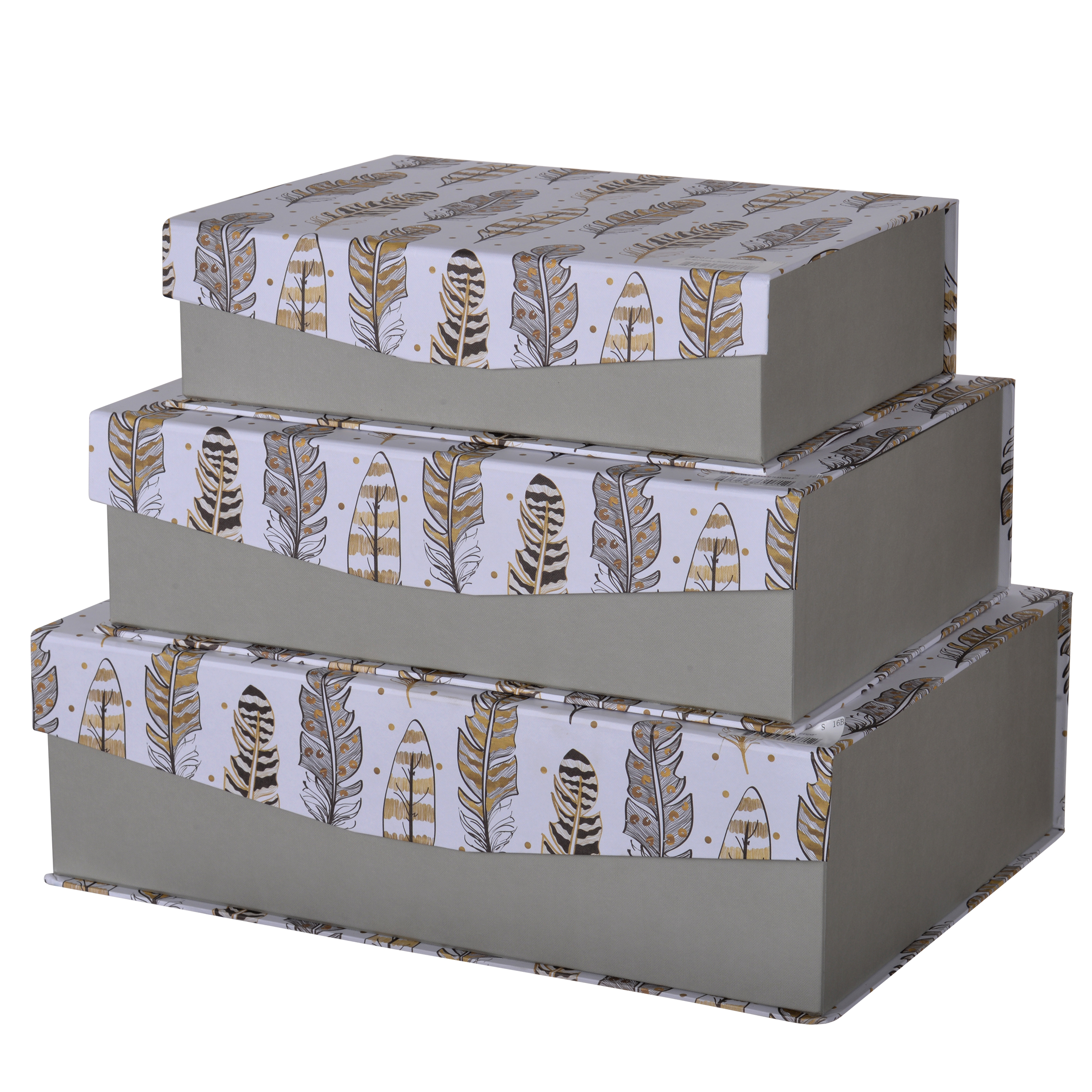 A&B Home Albany Storage Boxes with Feather Motif, Set of 3
