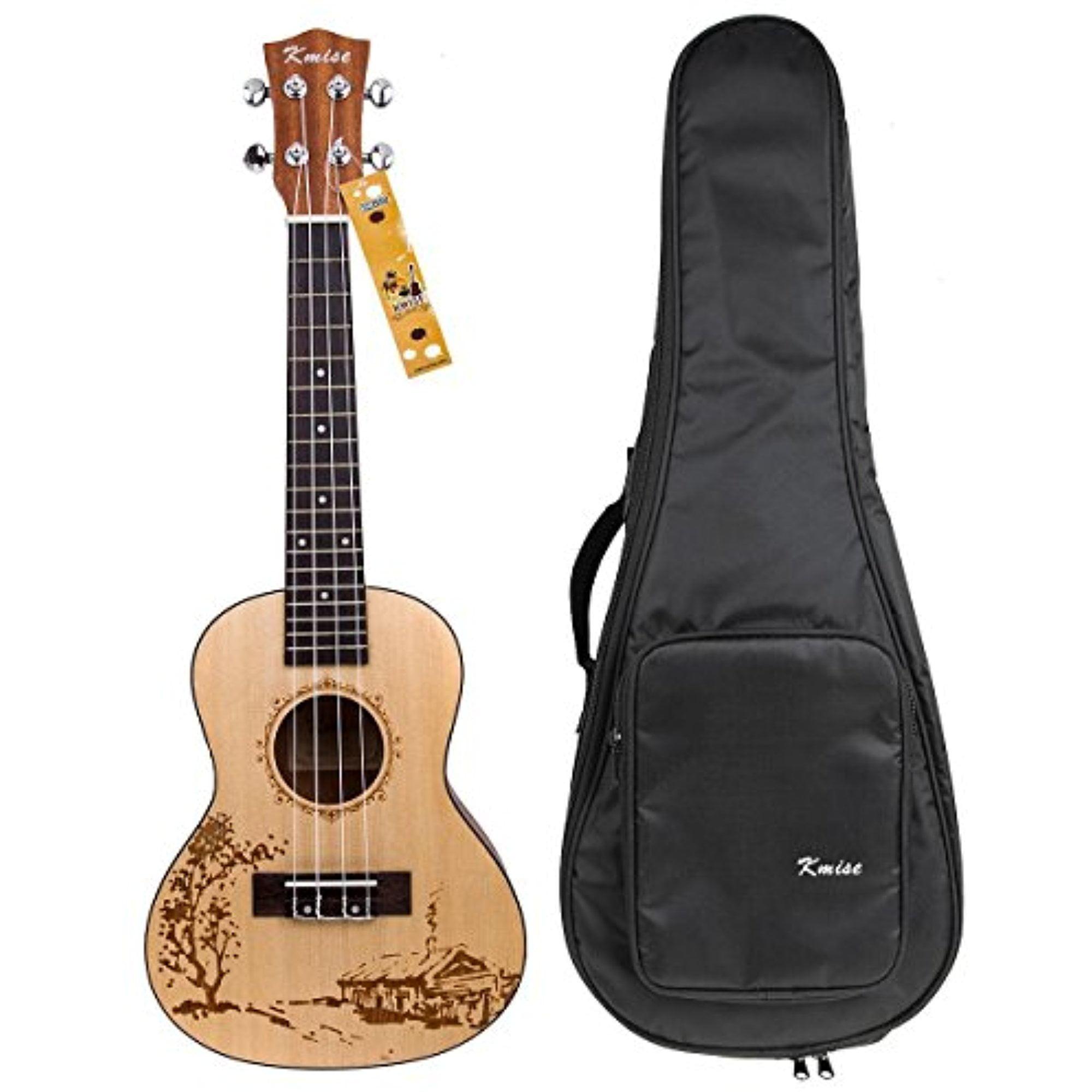 Kmise Solid Spruce Ukulele Concert Ukelele Start Kit with Bag 23 inch Uke Hawaii Guitar by Kmise