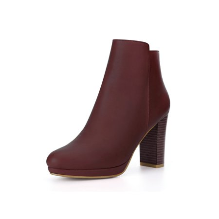Unique Bargains Women's Round Toe Block Heel Platform Ankle Boots](Red Thigh High Boots)