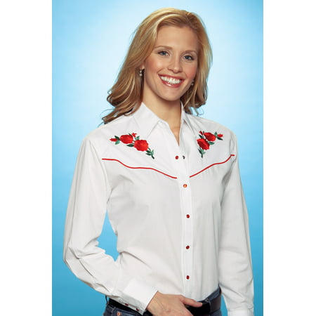 Ely Cattleman Women's Embroidered Roses Vintage Western Cowboy Shirt - 303801Asst Embroidered Black Western Shirt