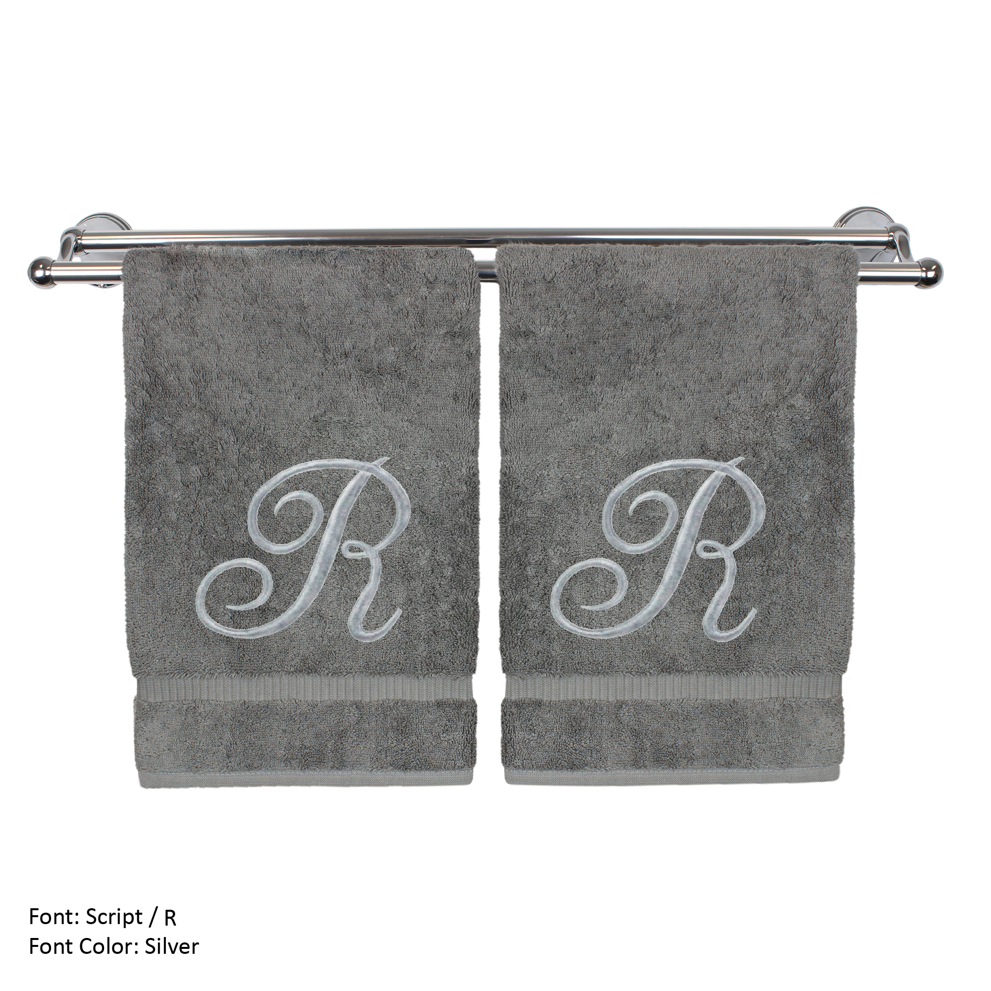 Monogrammed Washcloth Towel, Personalized Gift, 13x13 Inches - Set of 2 - Silver Script Embroidered Towel - Extra Absorbent 100% Turkish Cotton - Soft Terry Finish - Initial R Gray