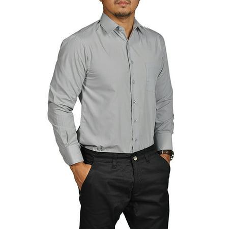 Gray Long Sleeve Shirt - Boltini Brand Mens Button Down Long Sleeve Dress Shirt Gray