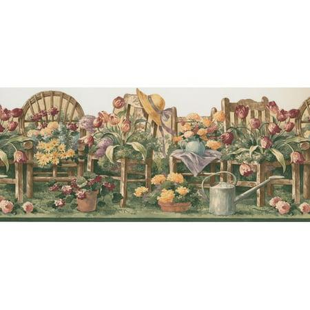 Retro Floral Wallpaper (Retro Art Floral Gardening Flowers 15' x 10.2'' Wallpaper Border)