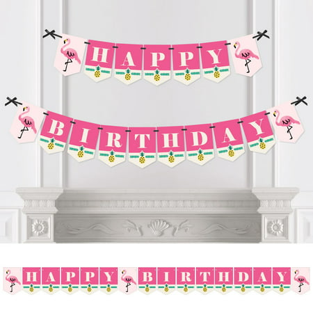Glow In The Dark Happy Birthday Banner (Pink Flamingo - Birthday Party Bunting Banner - Tropical Summer Party Decorations - Happy)