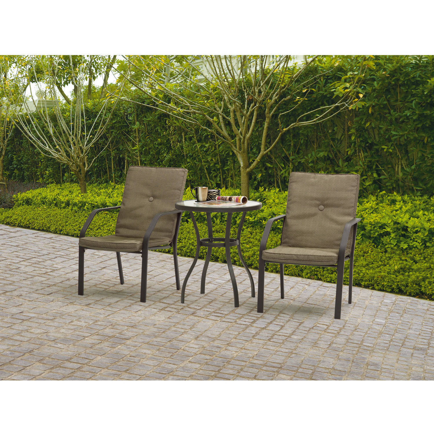 Mainstays Spring Creek 3 Piece Patio Bistro Set Tan Walmart Com
