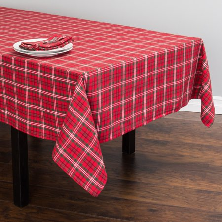 Red Plaid Tablecloth (Linen Tablecloth Holiday Plaid Tablecloth, Red and)