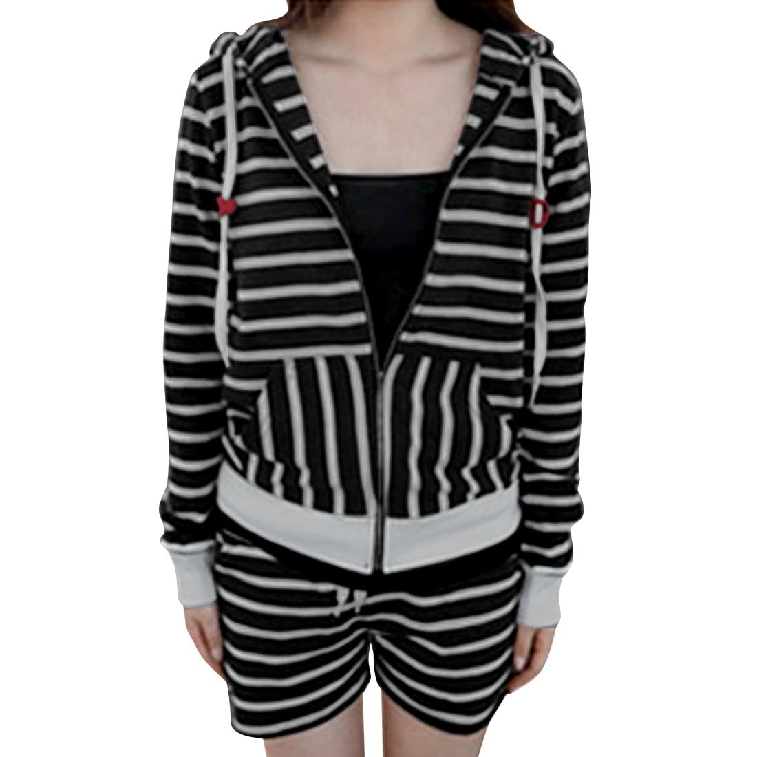 Women Hoodie Zipper Closure & Drawstring Waist Black Gray Shorts XS