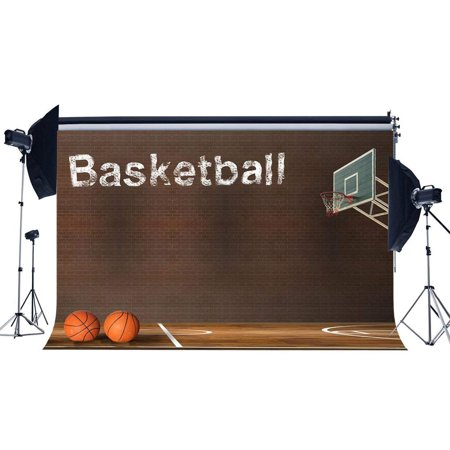 ABPHOTO Polyester 7x5ft Basketball Court Backdrop NBA Match Backdrops Grunge Brick Wallpaper Interior Stadium Photography Background for Boys Students Sports Meeting School Game Photo Studio Props