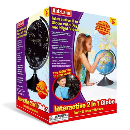 Interactive Globe for Kids, 2 in 1, Day View World Globe and Night View Illuminated Constellation
