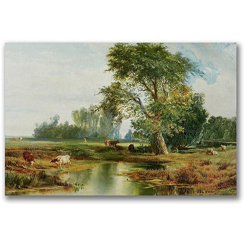 "Trademark Fine Art ""Cattle Watering"" Canvas Wall Art by Thomas Moran"