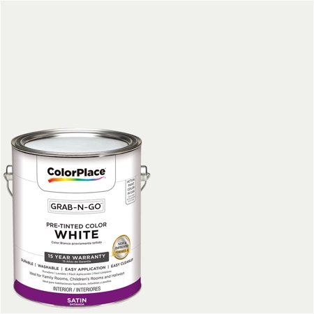 ColorPlace Pre Mixed Ready To Use, Interior Paint, White, Satin Finish, 1 Gallon Interior Satin Latex Wall Paint
