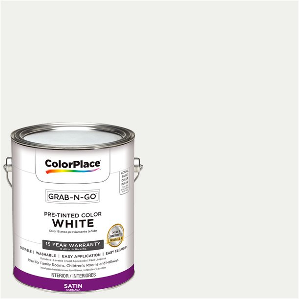 Colorplace Pre Mixed Ready To Use Interior Paint White Satin Finish 1 Gallon Walmart Com Walmart Com