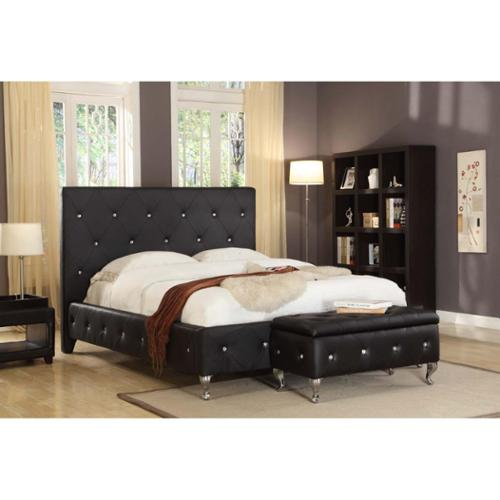 Faux Leather Black Upholstered Bed Queen Upholstered