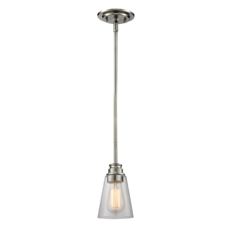 - Mini Pendants 1 Light With Brushed Nickel Finish Steel Medium Base Bulb 6 inch 100 Watts
