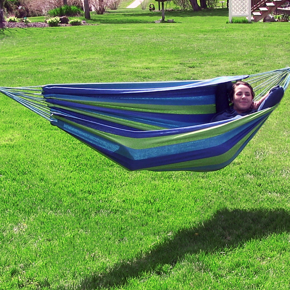 Sunnydaze Brazilian Double Hammock, Two Person, with Carrying Pouch, Max Weight: 450 Pounds, Ocean Breeze