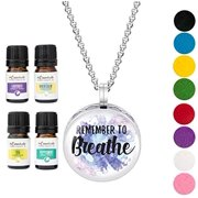 Remember to Breathe Enamel Necklace Diffuser w/ pads and gift box and four oils