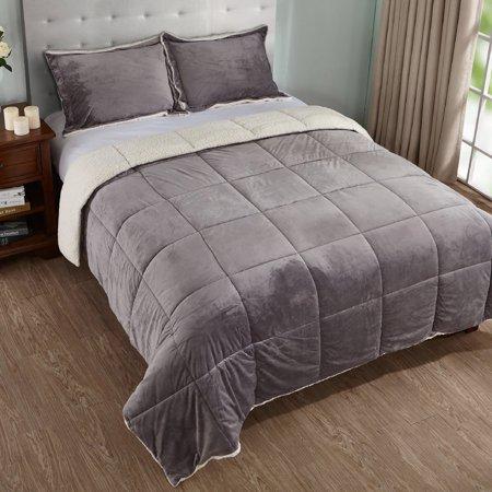 3 Piece Sherpa Reversible Down Alternative Comforter Set Walmart Canada