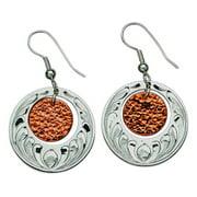Western Women Earring Engraved Discs Dangle 311-301