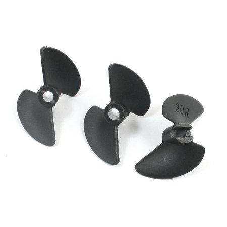 Unique Bargains 3 Pcs 30mm P/D 1.4 Black Reverse Propeller Prop 3014R for 1/8