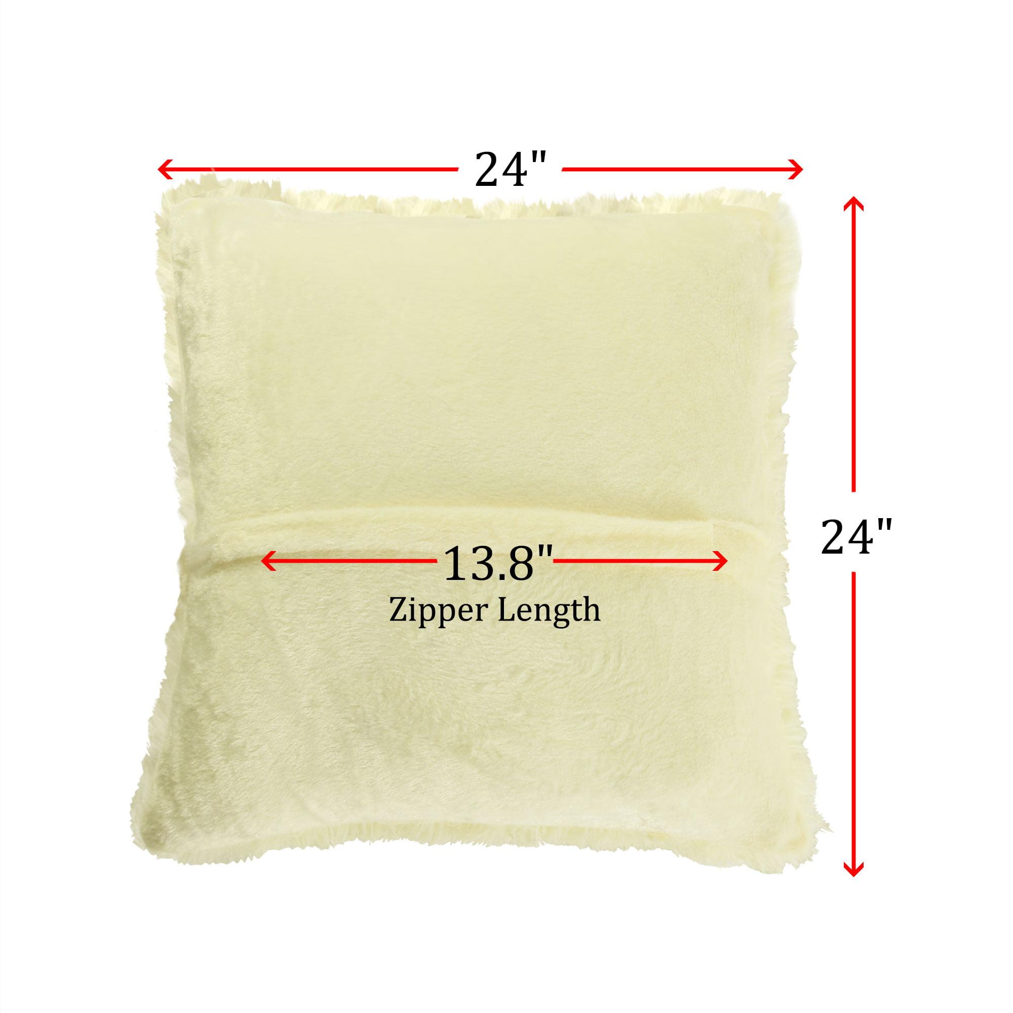 "24"" Throw Pillow Case Faux Fur Fuzzy Cushion Cover Light Yellow - image 6 de 8"