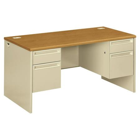 HON 38000 Series Double Pedestal Desk, 60w x 30d x 29-1/2h, Harvest/Putty