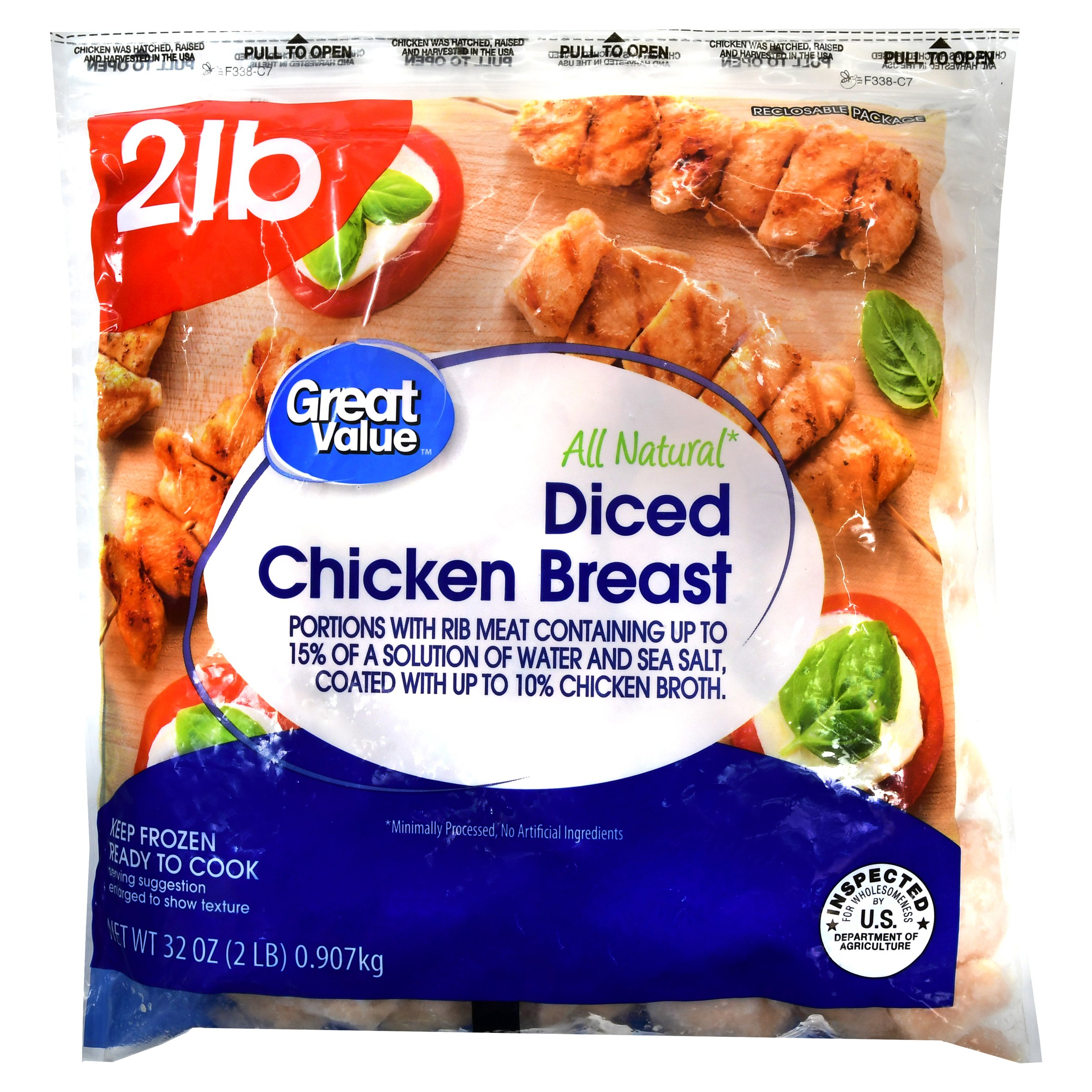 Great Value Diced Chicken Breast, 32 oz