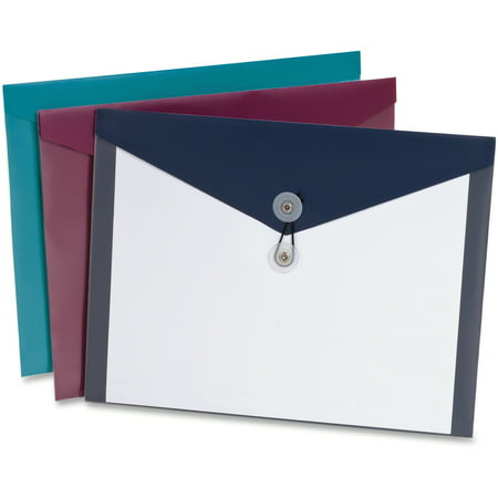 Pendaflex, PFX90016, ViewFront Poly Envelopes, 4 / Pack, Assorted,Teal,Burgundy