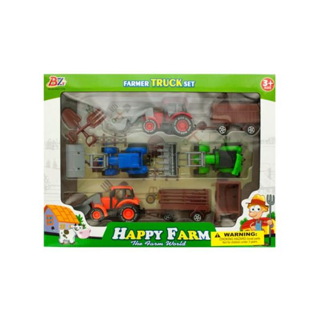 Kole Imports GH382-4 Farm Tractor Truck & Trailer Set Pack of 4 by Kole Imports