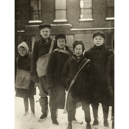 Hine Newsboys 1910 Na Group Of Newsboys Standing In The Snow Utica New York Photograph By Lewis Hine February 1910 Poster Print by Granger Collection