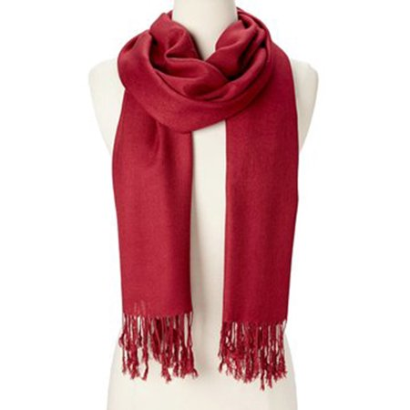 b1e8e64e0 Oussum - Wine Red Solid Scarfs for Women Fashion Warm Neck Womens Winter  Scarves Casual Pashmina Silk Blend Scarf Wrap with Fringes for Ladies Girls  by ...
