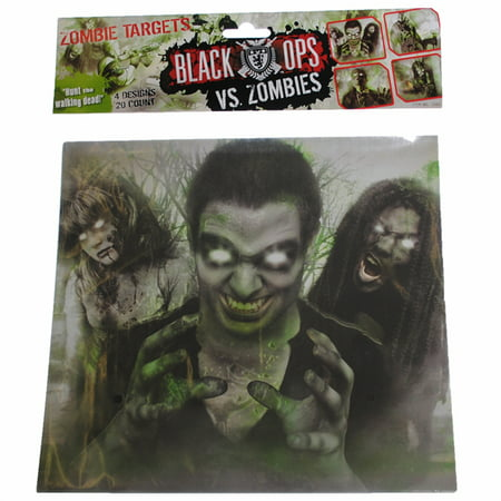 PACK OF 20 - BLACK OPS vs ZOMBIES Airsoft Gun & BB Targets Shooting Target (Paper Targets For Bb Guns)