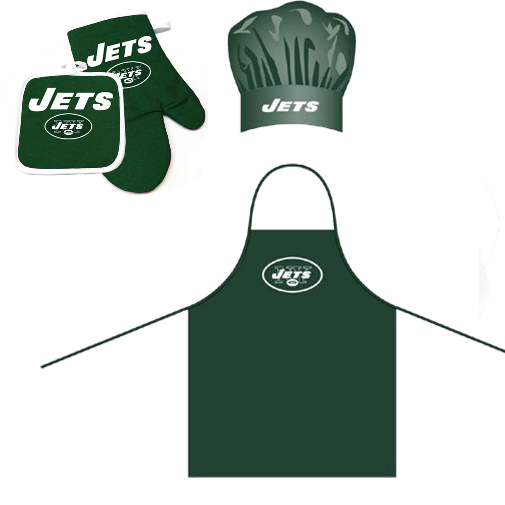 New York Jets NFL Barbeque Apron, Chef's Hat and Pot Holder Deluxe Set
